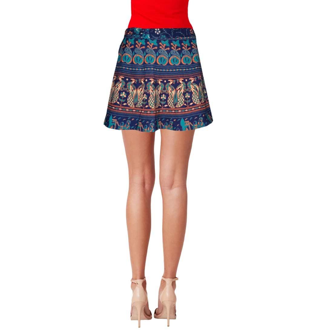 36c26300f5 Sttoffa Women s Cotton Animal Print Wrap Around Short Mini Skirt  (NTBW15-0064