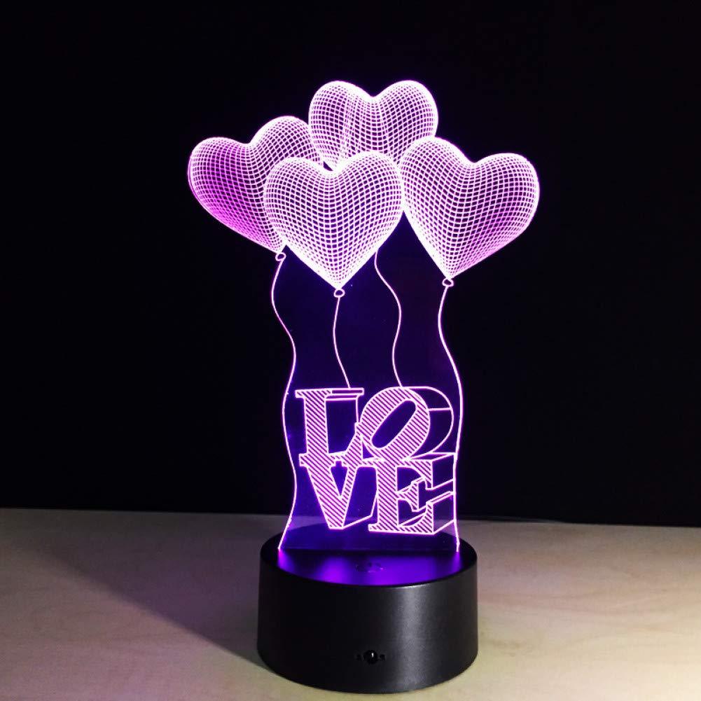 BINGXY Lámpara de mesa colorida Amor Corazón Globo Regalo romántico para los amantes de la boda Esposa San Valentín 3D Touch Bebé Noche Lámpara de mesa