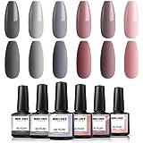 Modelones Gel Nail Polish Set - Nude Gray Pink Series 6 Colors Collection Winter Fall Gel Polish Soak Off LED Gel Nail…
