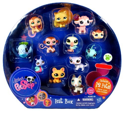 Littlest Pet Shop Exclusive Collectible 12 Pack Bobble Head Pets Figure Set - Hat Box with Brown Beagle Puppy (#1664), White Bull Terrier Puppy (#1665), White Lilac Ferret (#1666), Green Gecko (#1667), Brown Guinea Pig (#1668), Orange Kitty Cat (#1669), Pink Baby Lamb (#1670), Brown Baby Monkey (#1671), White Blue Pelican (#1672), Caramel Persian Cat (#1673), Colorful (Pink,Green,Blue and Purple) Snail (#1674) and Blue Whale(#1675) (Lps Hat Box)