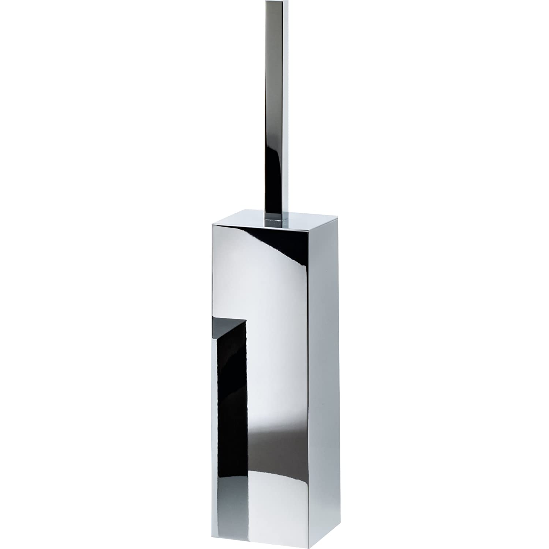 DWBA壁マウント正方形真鍮トイレボウルブラシホルダーセットクリーナーW /蓋 2.8 D x 3.1 D in. 14.6 H in. COWBDN-0564000 B01N6T3MDJ 光沢クロム