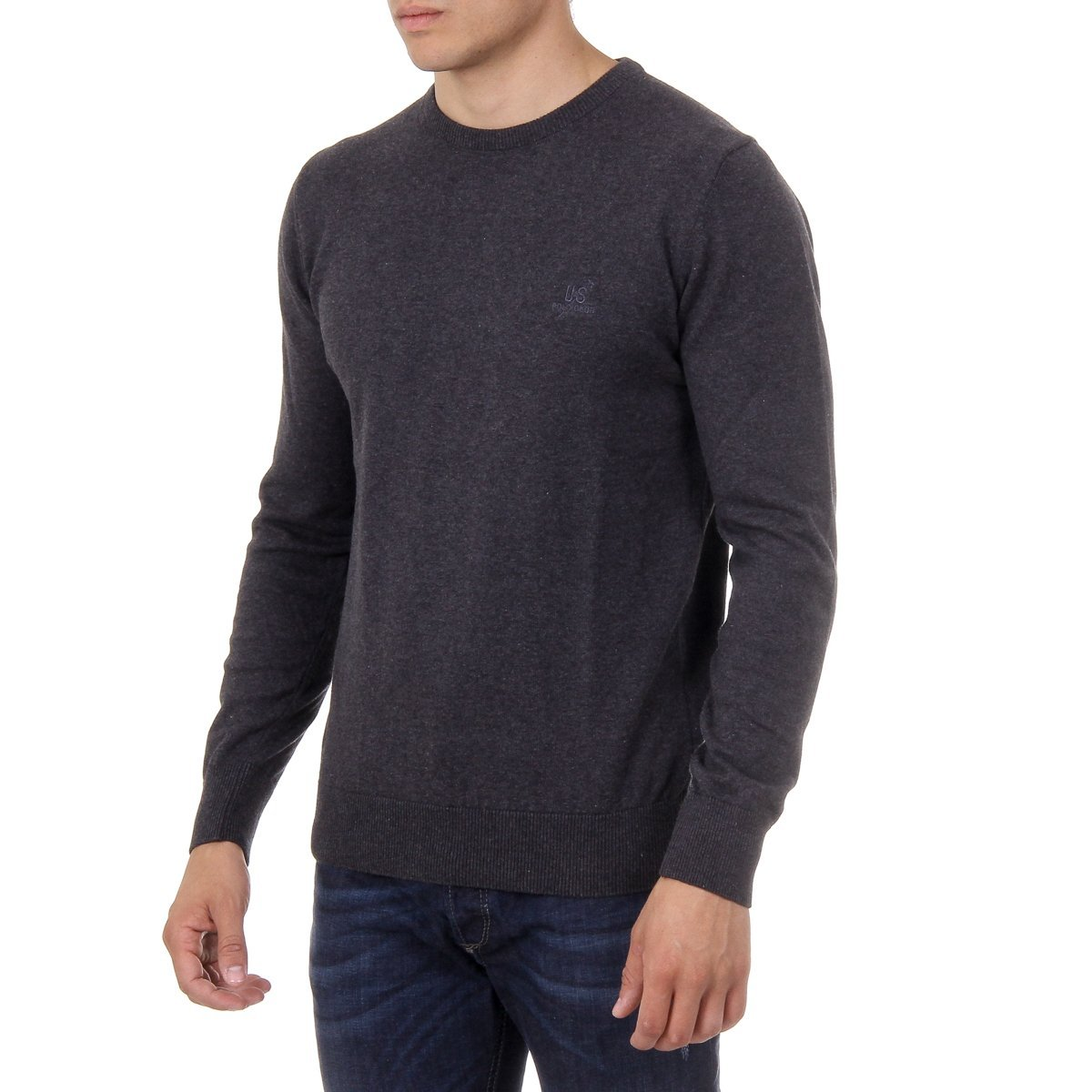 Ufford /& Suffolk Polo Club Mens Sweater Long Sleeves Round Neck PULLRUS100 Anthracite