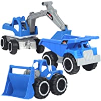 TOYANDONA 3pcs Construction Excavator Toy Excavator Construction Tractor Truck Toy for Kids Boys Construction Birthday…
