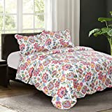 Is There a Bed Bigger Than a King Mohap Floral Pattern 3-Piece Quilt Set King 102'' by 94'' Hypoallergenic and Super Soft Multi Color - Pattern#4