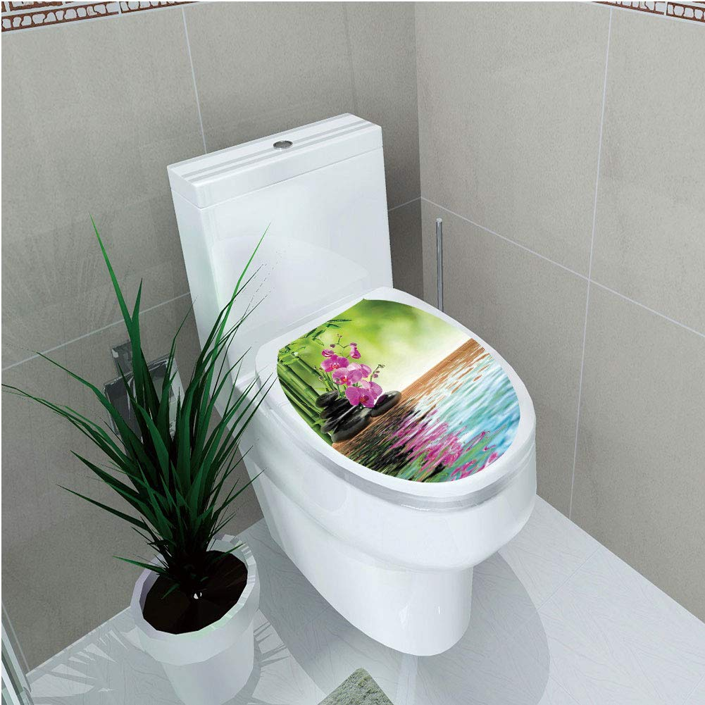 Toilet Cover Sticker,Spa Decor,Orchid Flower Stone Oriental Culture Spirituality Wellness Tropical Holiday,Custom Sticker,W12.6''xH15.7''