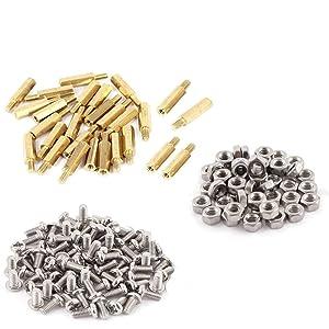 M3x15+6mm Female-Male Brass Thread Hex Standoff Spacer Screws & Nut Assorted Kit,Threaded Pillar PCB Motherboard Assortment Kit,120Pcs