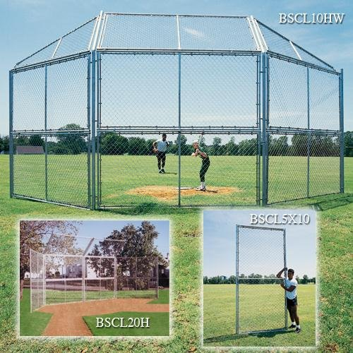 Bsn Chain Link Backstop - BSN Chain Link Backstop with Hood and Wings, 10-feet