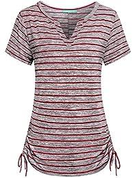 Womens Notch V Neck Short Sleeve Loose Fit Drawstring Side Striped Shirts