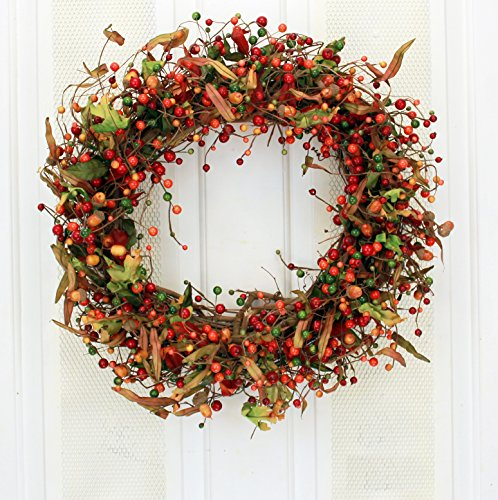 Wild Autumn Berry Decorative Wreath for Fall Front Door Indoor Seasonal Autumn Home Decor ()