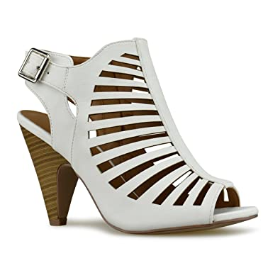 Women's Open Toe High Chunky Heel - Sexy Stacked Wood Heel Sandal - Vegan Leather Cutout Shoe