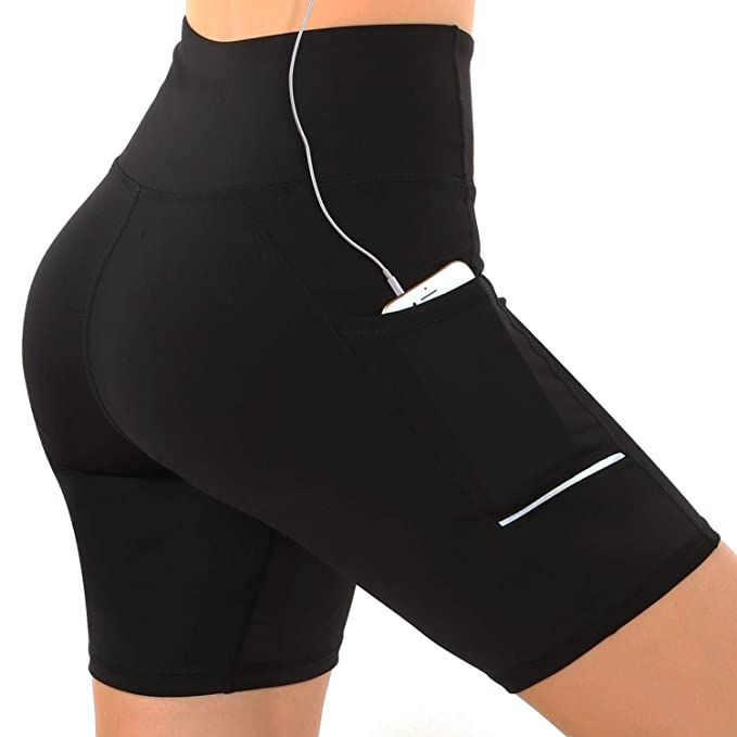 GRAT.UNIC Pantalón Corto Deportivo para Mujer, Running Pantalones Cortos de Yoga con Bolsillo Lateral, Fitness Mallas Deportivas