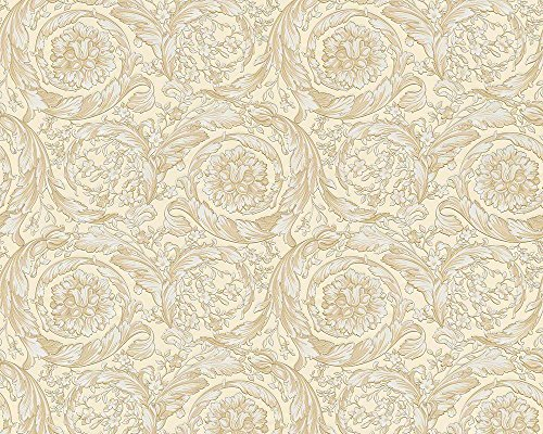 Versace wallpaper - material: vinyl on non-woven material - colour: beige, metallic - article no. - Floral Versace