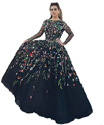 BRLMALL Womens Embroidery Tulle Long Sleeve A Line Prom Dresses