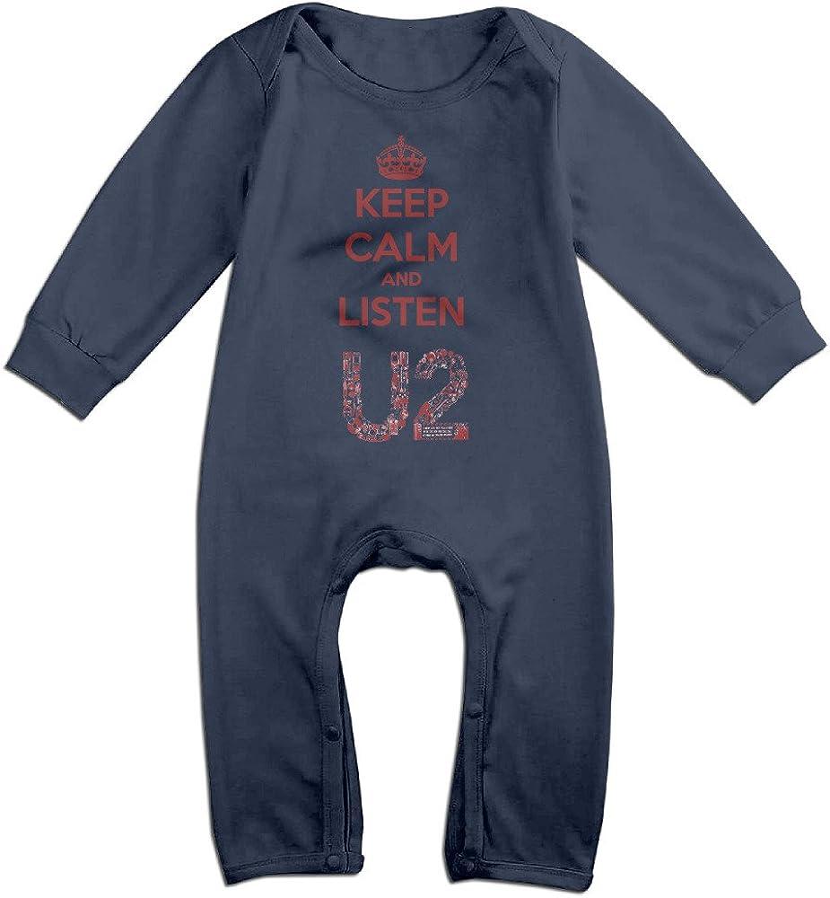 Infant Keep Calm Because I Love You Mom Long Sleeve Romper Onesie Bodysuit Jumpsuit