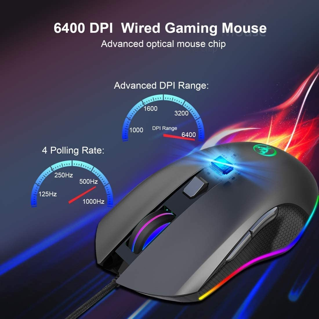 GzPuluz A866 USB 6400DPI Four-Speed Adjustable RGB Light-Emitting Wired Game Optical Mouse 1.5m Cable Length
