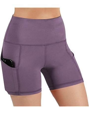 b92ab8cdd ODODOS High Waist Out Pocket Yoga Short Tummy Control Workout Running  Athletic Non See-Through