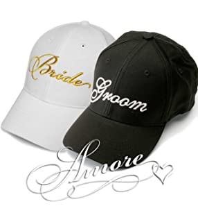 53af846c83a5a Gold Bride and Groom Wedding Baseball Caps Hats GOLD Embroidery on White Hat