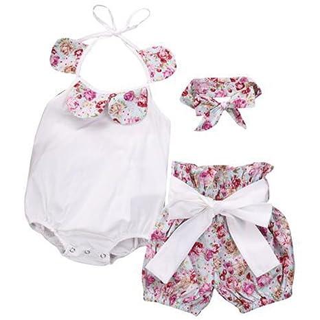 Feixiang Bebé recién Nacido niña Mono Impreso Top + Bow + Shorts Pantalones Conjunto bebé niña