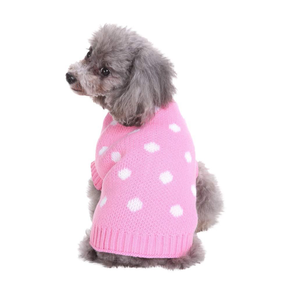 Pet Dog Cat Winter Warm Dot Sweater Puppy Coat Costume Apparel Adorable Pajamas Outdoor
