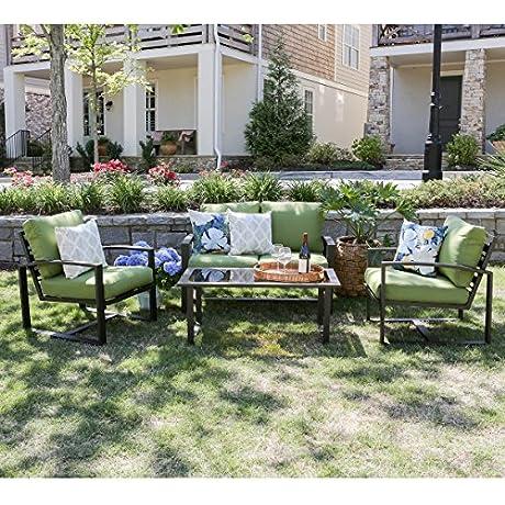 Leisure Made 4 Piece Jasper Aluminum Seating Green Fabric