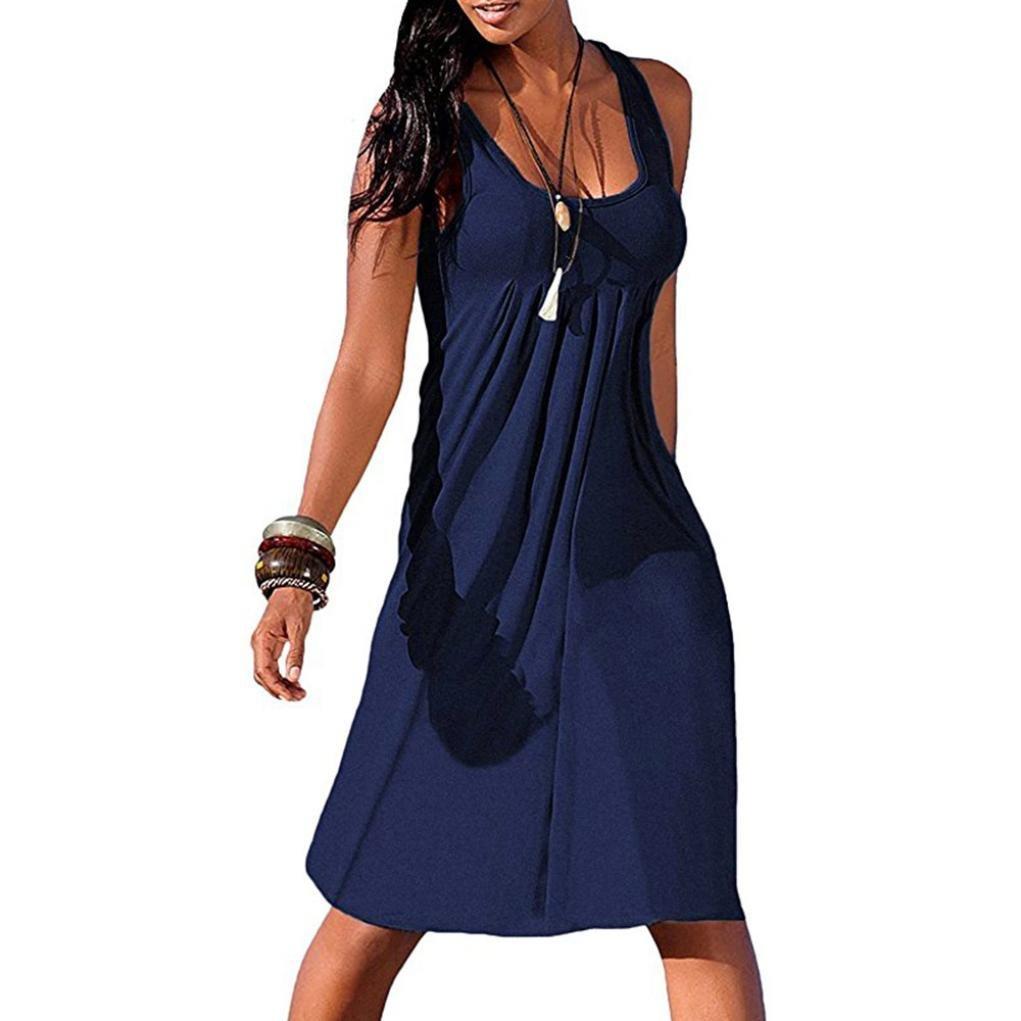 Clearance! Long Dress,Showking Women's Summer Casual Sleeveless Mini Plain Pleated Tank Vest Dresses (M, Navy)