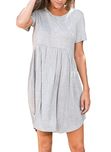 Happy Sailed Women Short Sleeve Tunic Womens V Casual Neck Loose T-shirt Dress