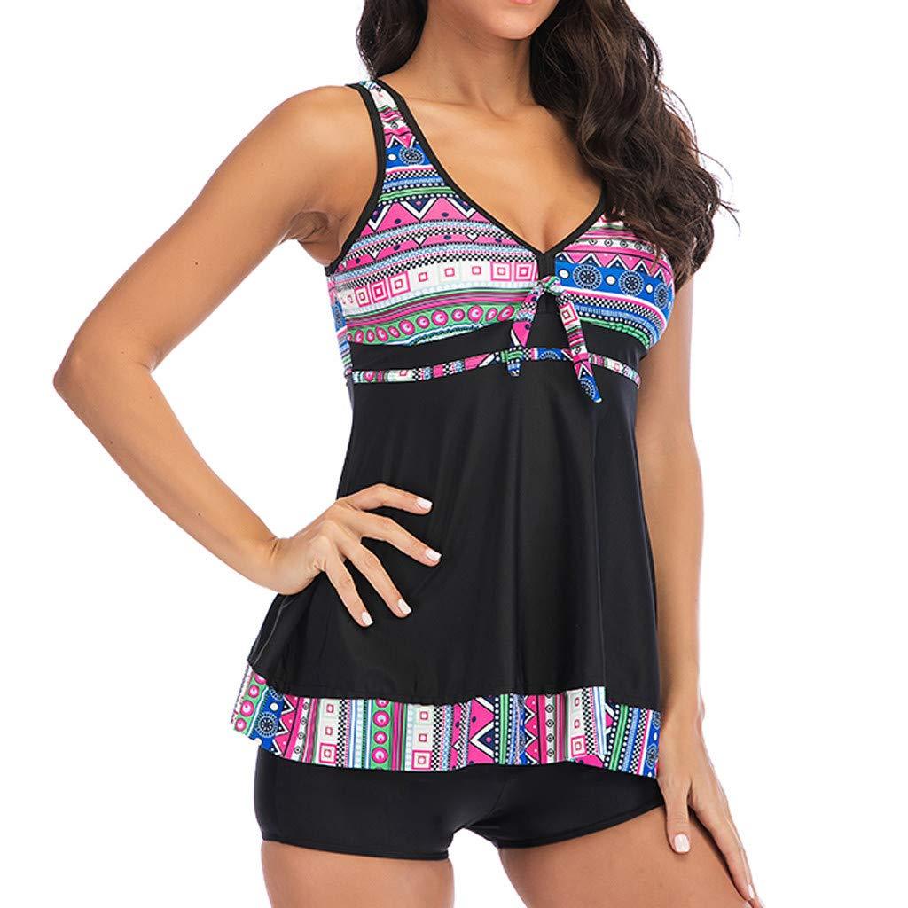 Swimsuits for Women Tankini Sets Hosamtel Two Pieces High Waisted Tummy Control Printed Push Up Bikini Swimwear Bathing Suit