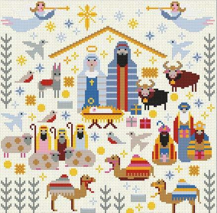 Riverdrift House Christmas Nativity Sampler Cross Stitch Kit - House Cross Stitch Sampler