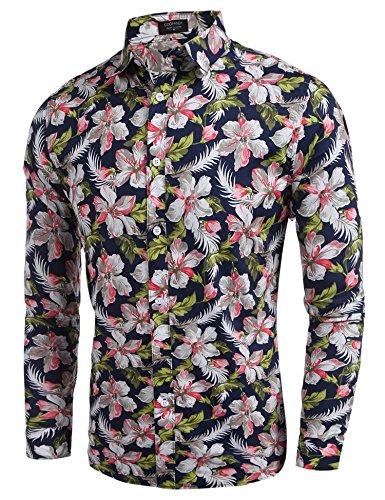 Casual Coton Bleu En Imprimé Homme Longue Fleur Et De Col Coofandy Stand Chemise Marine Manche Fleure qRIcFfw