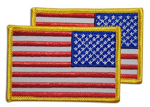 2-Piece Reverse American Flag Patch Sew or Iron On by Novel Merk