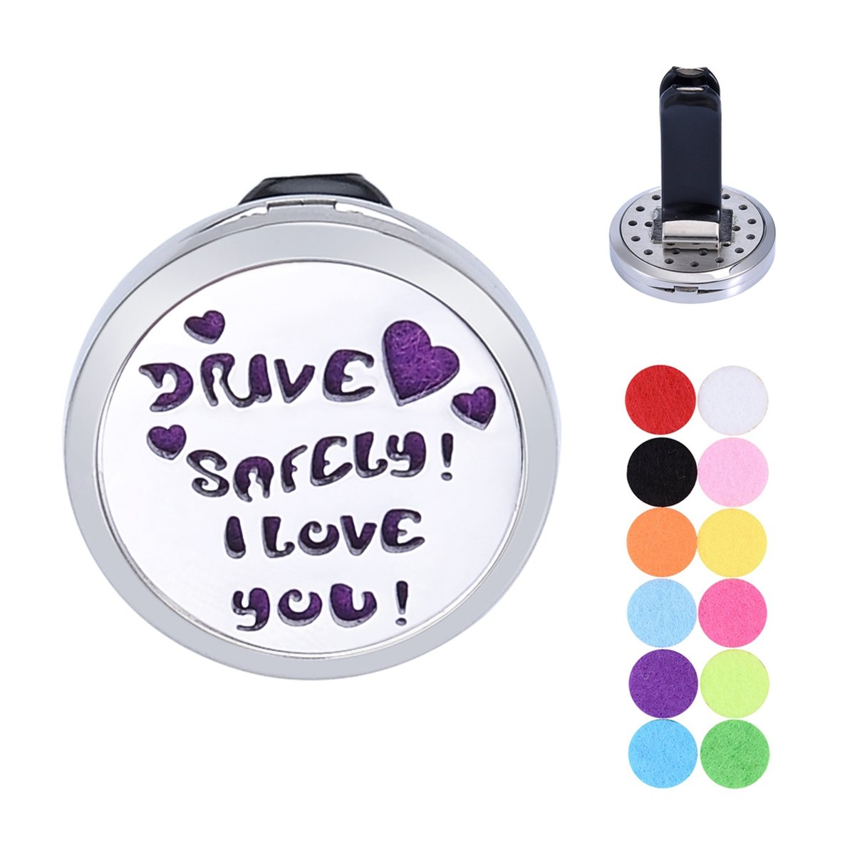 ''DRIVE SAFELY I LOVE YOU'' Car Air Freshener Aromatherapy Essential Oil Diffuser Vent Clip Stainless Steel Locket with 12 Felt Pads