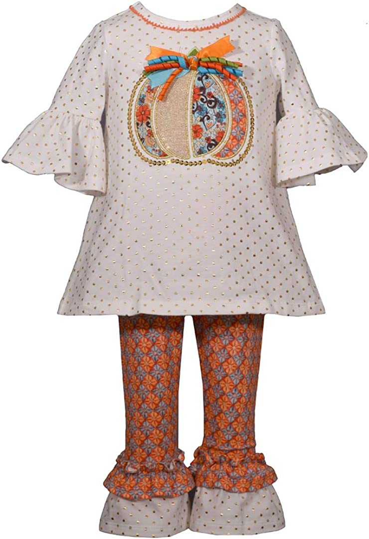 Bonnie Jean Little Girls Holiday Thanksgiving Turkey Outfit Ivory Orange 2T-6X