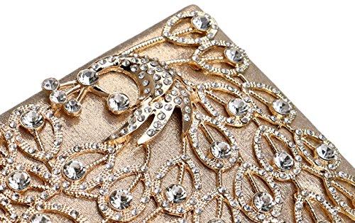 à de soirée strass la Or fête Peacock luxe noir sacs Flada pour sac embrayage main mariage de 0OIOHg