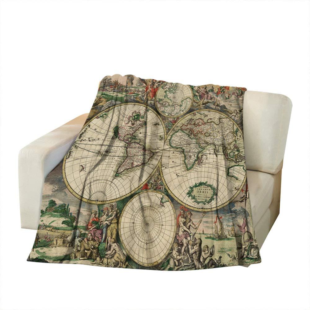 Moslion Manta Suave y acogedora con dise/ño de mapamundi Antiguo casa//Viajes//campamentos de poli/éster para Adultos y ni/ños