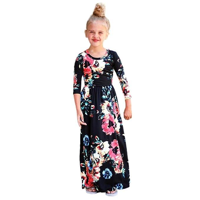 Mädchen kleider kinder kleider Longra Mädchen Blumen Maxikleid ...