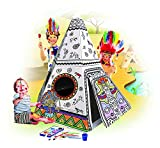 My Teepee Tent Cardboard Playhouse - Large Corrugated Color In Coloring Play House for Kids - 3.5 Feet Tall, Easy Assembly, Fast Fold - by Spiritoy
