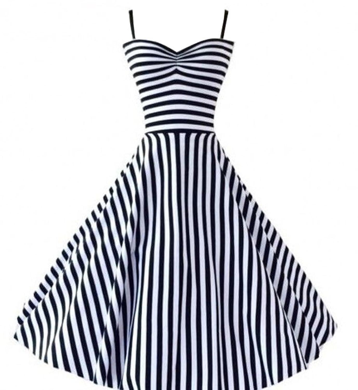 PhilaeEC Damen 1950s 60s Retro Stil Streifen Spaghetti Geschnürt Kleid Rock