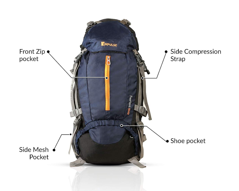 48cf854a0da8 Impulse 65 Ltrs Blue Trekking Backpack (Inverse U Blue)  Amazon.in  Bags