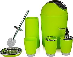 ONTROWA Bathroom Accessories Set 6 Pieces Plastic Bathroom Accessories Toothbrush Holder, Rinse Cup, Soap Dish, Hand Sanitizer Bottle, Waste Bin, Toilet Brush with Holder (Apple Green)