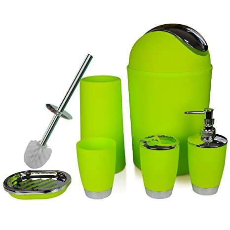 Apple Green Rinse Cup Toilet Brush with Holder ONTROWA Bathroom Accessories Set 6 Pieces Plastic Bathroom Accessories Toothbrush Holder Waste Bin Soap Dish Hand Sanitizer Bottle