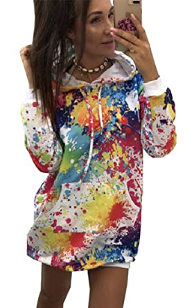 codice promozionale 46387 2bdbd Felpe Vestito Lungo Pull Felpa con Cappuccio Donna Casual Stampa ...