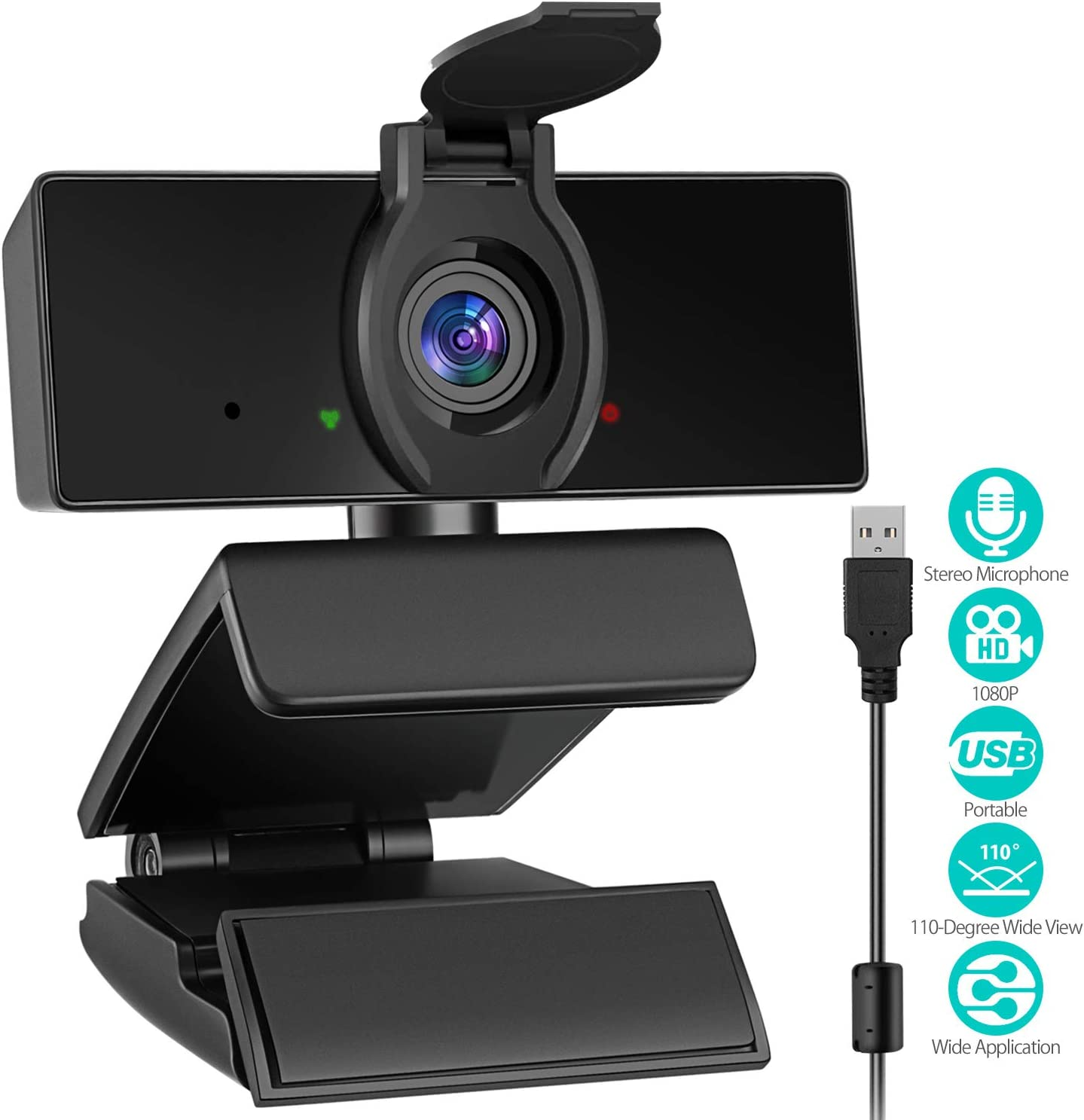 1080P Webcam with Microphone & Privacy Cover, USB Plug & Play Web Cam, Desktop Laptop Computer Web Camera for Video Streaming, Conference, Recording, Gaming, Online Classes