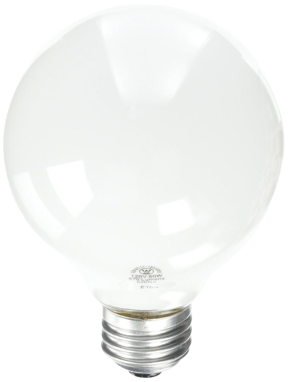Westinghouse 0312300, 60 Watt, 120 Volt White Incand G25 Light Bulb, 1500 Hour 570 Lumen
