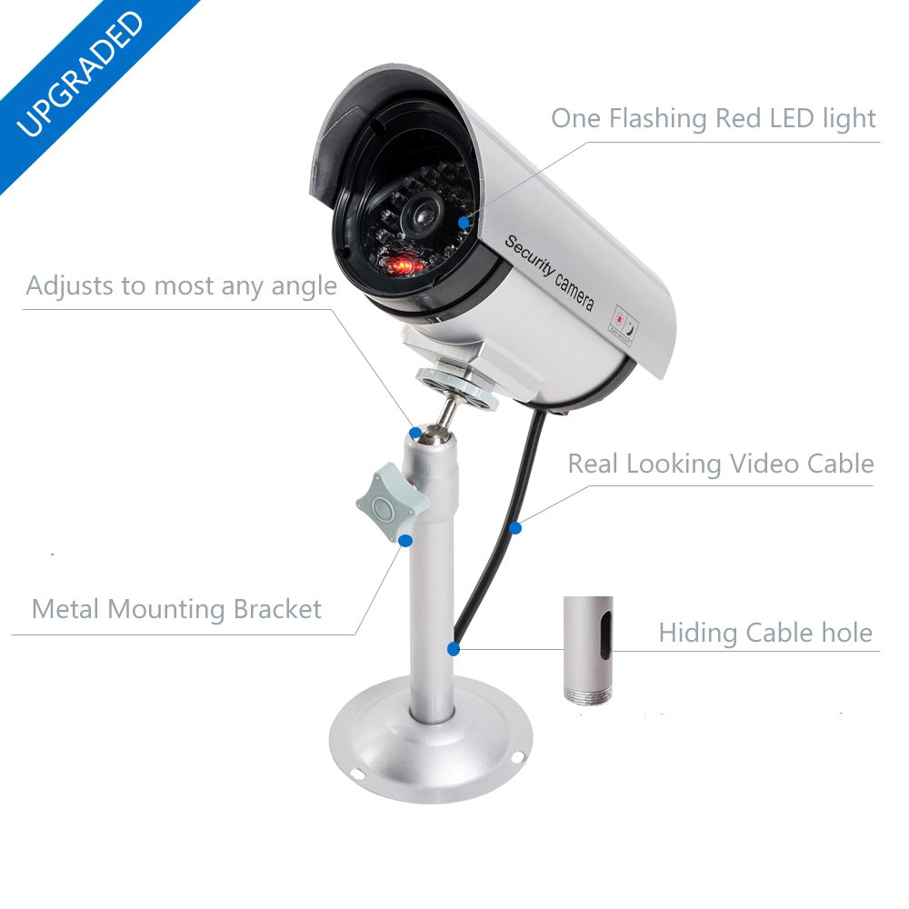 WALI Bullet Dummy Fake Surveillance Security CCTV Dome Camera Indoor Outdoor with one LED Light + Warning Security Alert Sticker Decals (TC-S2), 2 Packs, Silver by WALI (Image #4)