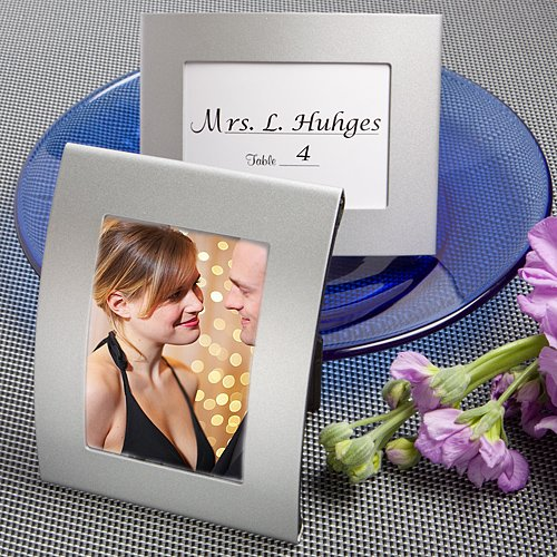 84 Matte Silver Metal Curved Place Cards / Photo Frames by Fashioncraft