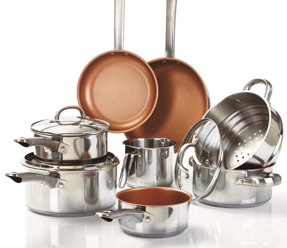 Cermalon 11-Piece Cookware Set, Stainless Steel, Copper, 50 x 20.5 x 30 cm A365 Limited K310SS