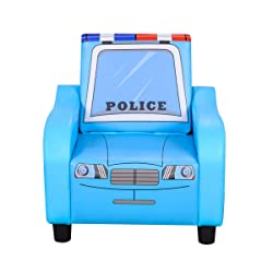 Popular Upholstered Single Police Cartoon Kids Sofa with Folding Back Made from Wooden Frame and Covered ECO-Friendly PVC Fabric (Blue) (Blue)