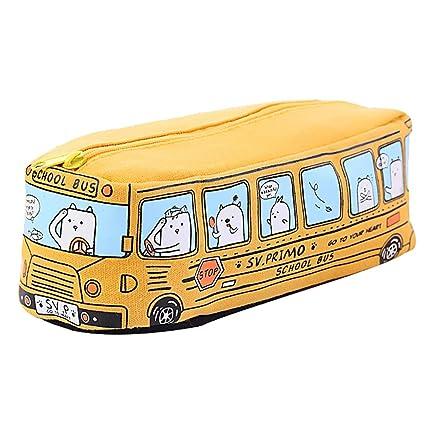 Estuche para lápices de autobús de lona multifuncional de alta capacidad para estudiantes, bolsa de herramientas de maquillaje, bolsa de ...