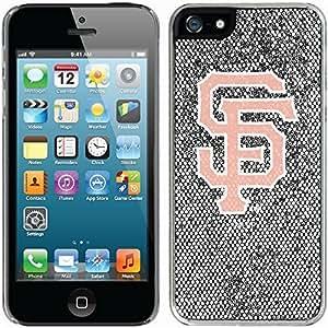 San Francisco Giants - White With Pink design on Silver iphone 6 plus / 5 Thinshield Glitter Bling Case WANGJING JINDA