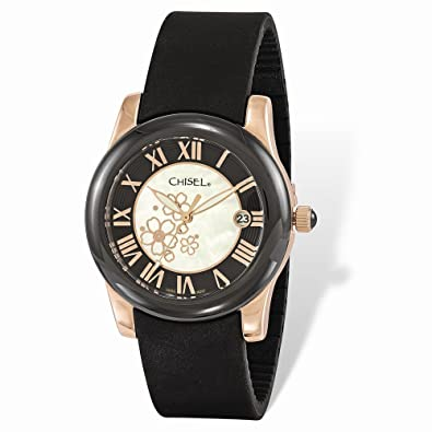 d4b5c2f6b76b5 Chisel Ladies Chisel Rose IP-plated Floral Dial Black Strap Watch 8.25 quot